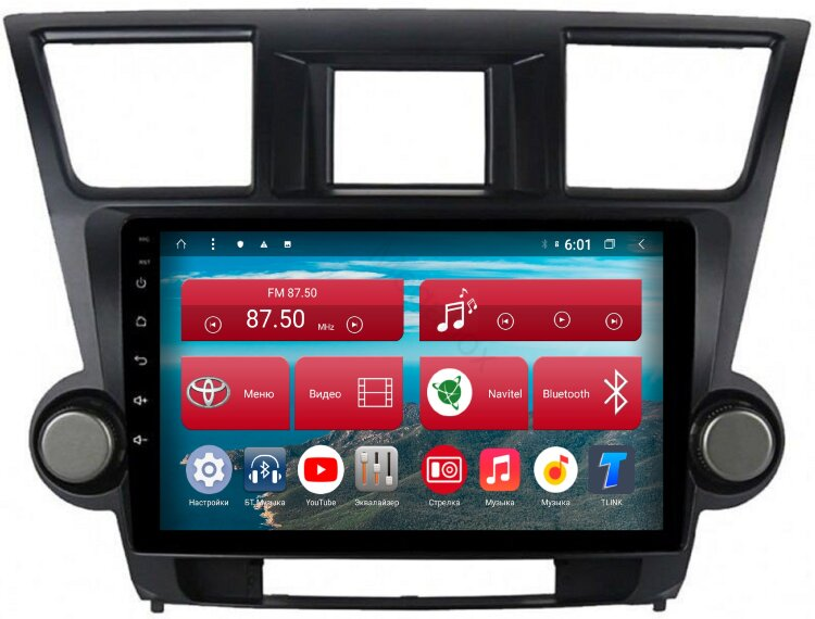 Штатная магнитола Toyota Highlander (2009-2013), Megabox LE-1077 Android